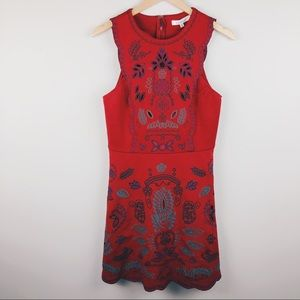 FRANCESCAS Red Embroidered Sleeveless Dress SZ M